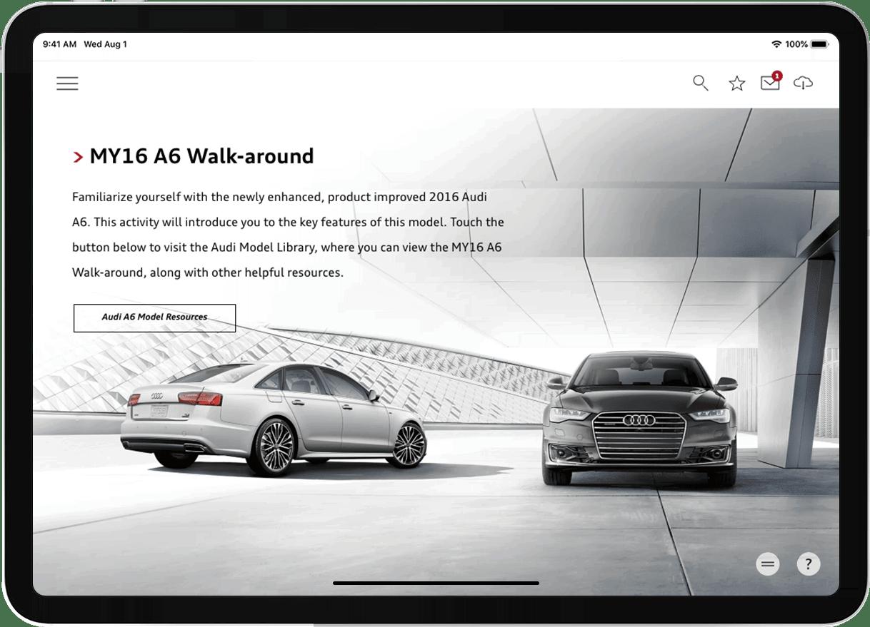 Audi Academy case study MY16 A6 Walk-around screenshot