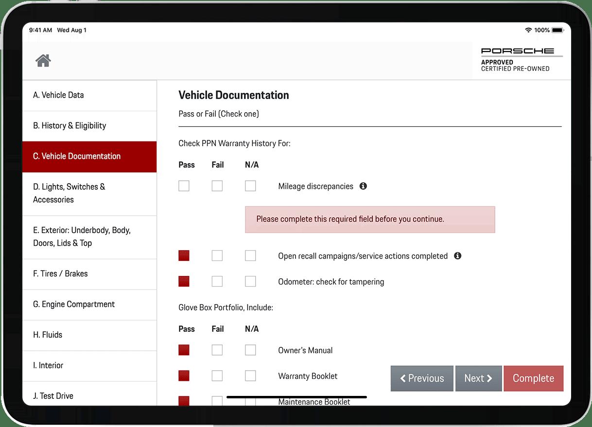 Porsche CPO case study form validation screenshot