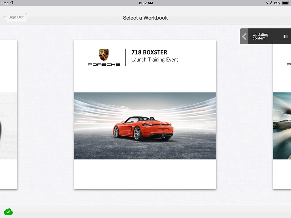 Porsche iTrainer case study workbook menu screenshot