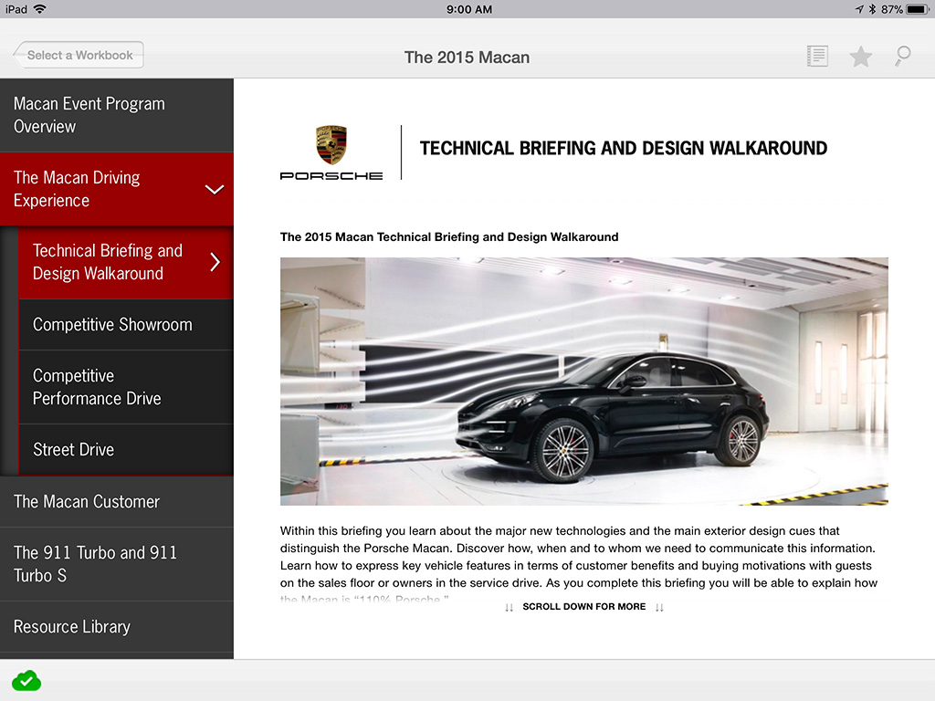 Porsche iTrainer case study workbook dashboard screenshot