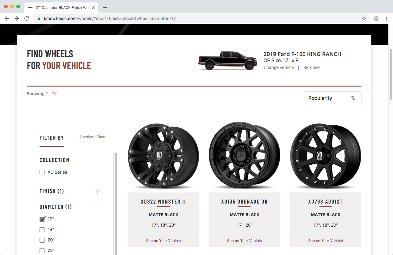 WheelPros Web Redesign case study KMC vehicle select screenshot