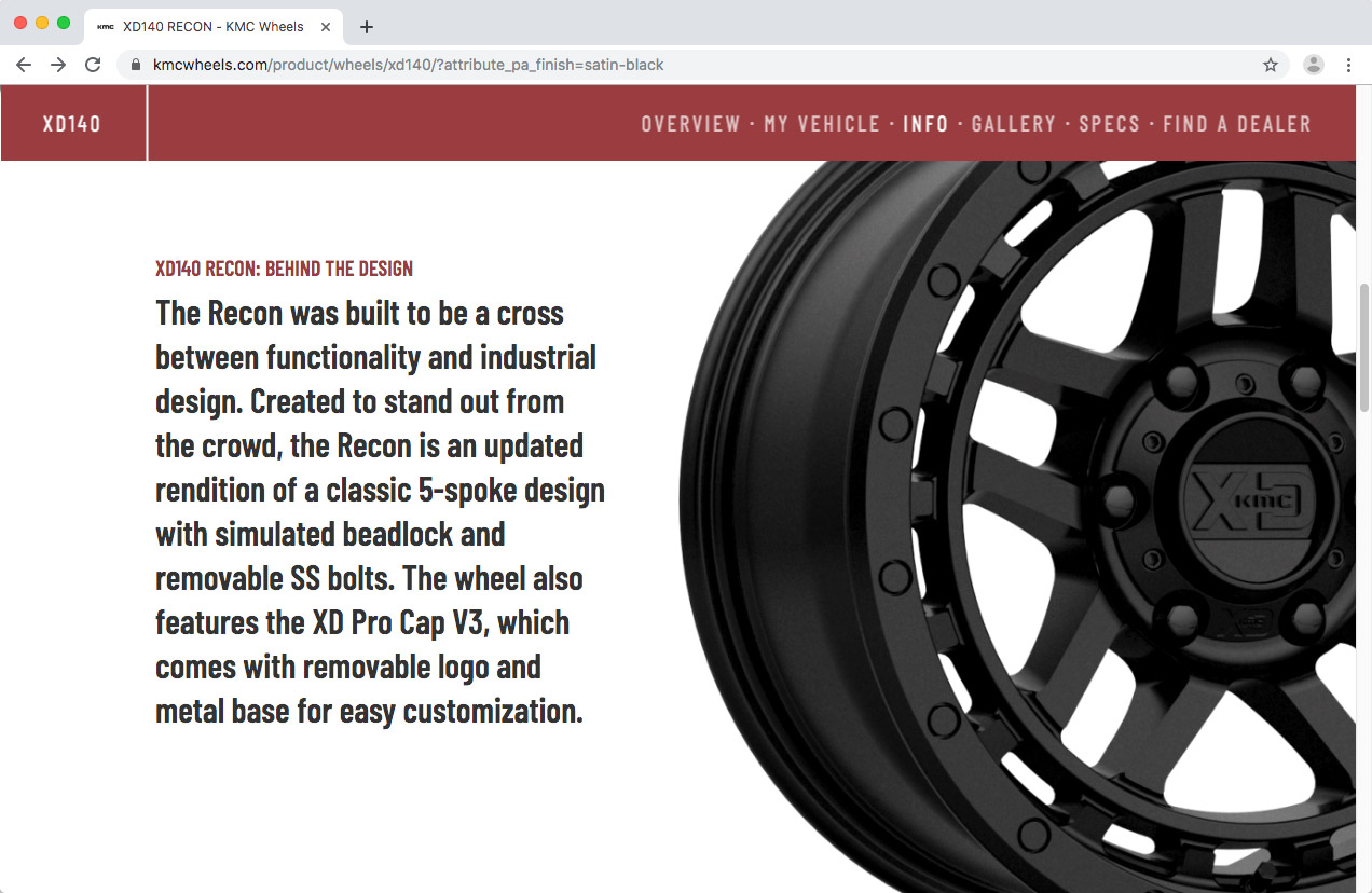 WheelPros Web Redesign case study KMC Product description screenshot