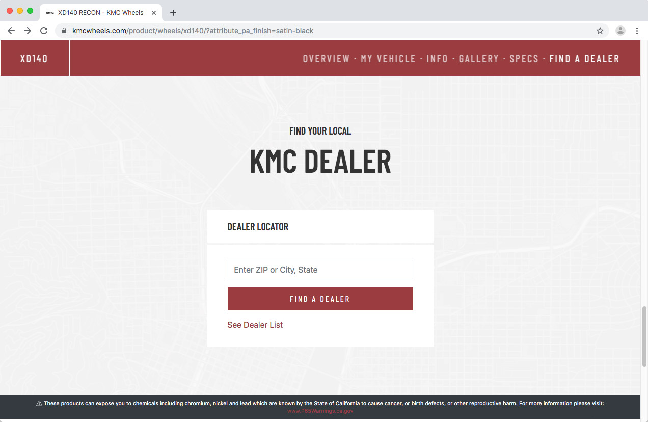 WheelPros Web Redesign case study KMC Find Dealer page screenshot