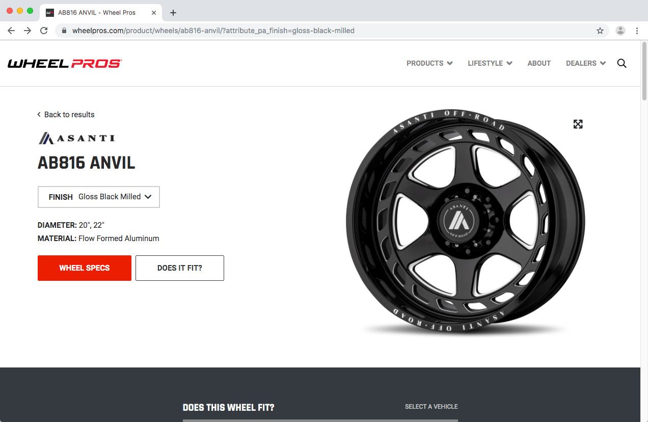 WheelPros Web Redesign case study Wheel Pros Product page screenshot