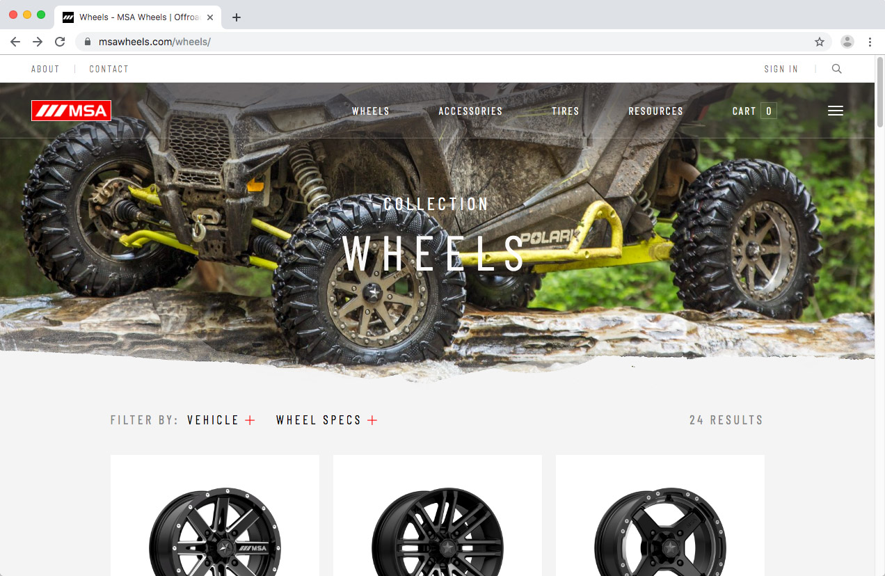 WheelPros Web Redesign case study MSA Collection page screenshot