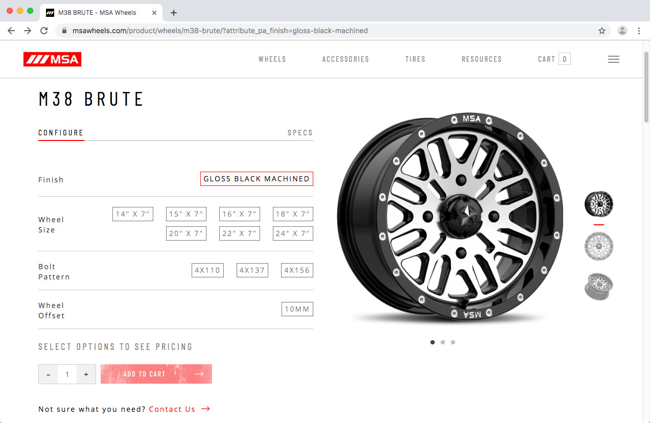 WheelPros Web Redesign case study MSA Product page screenshot