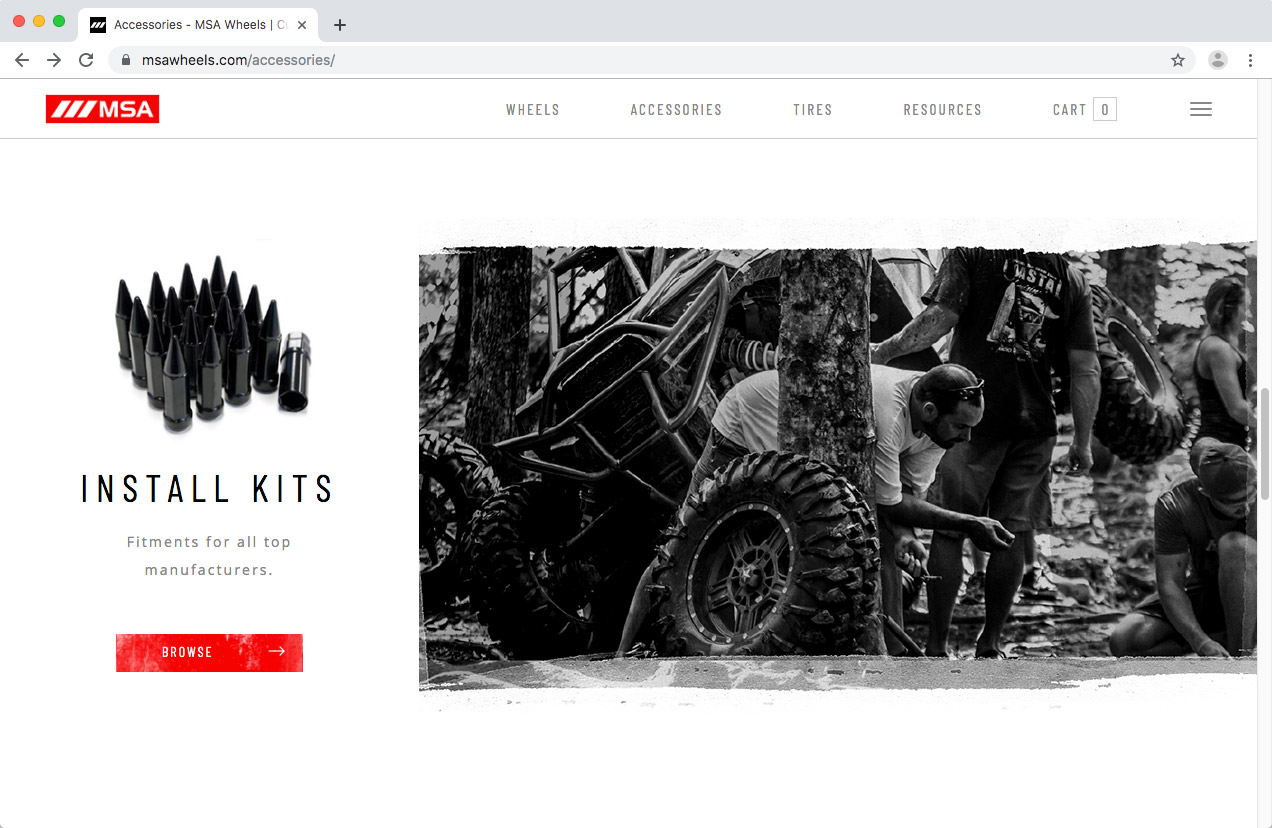 WheelPros Web Redesign case study MSA Accessories page screenshot
