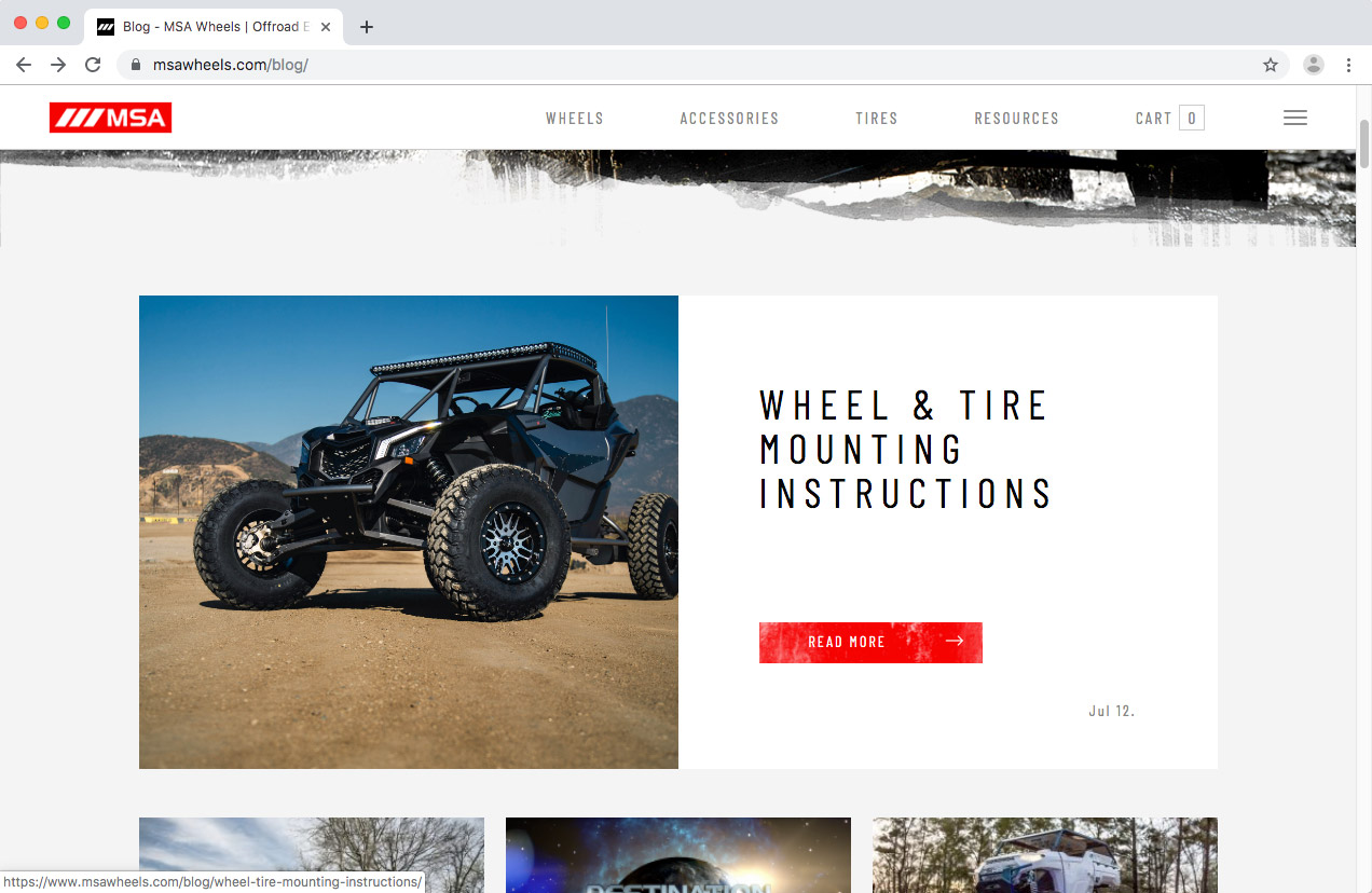 WheelPros Web Redesign case study MSA Blog page screenshot
