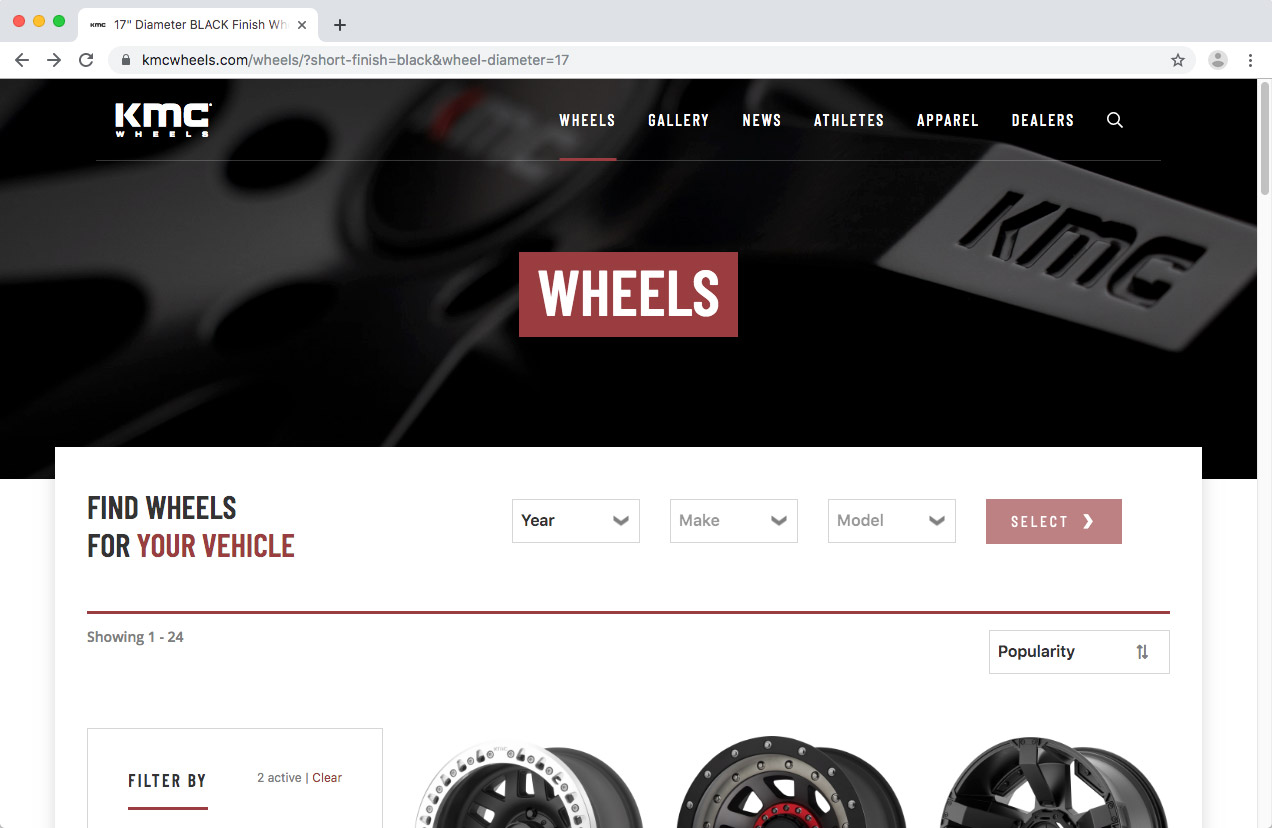 WheelPros Web Redesign case study KMC Collection page screenshot